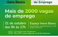 """""""Gera Bauru"""" contará com oferta de mais de 2000 vagas de trabalho por empresas parceiras"""