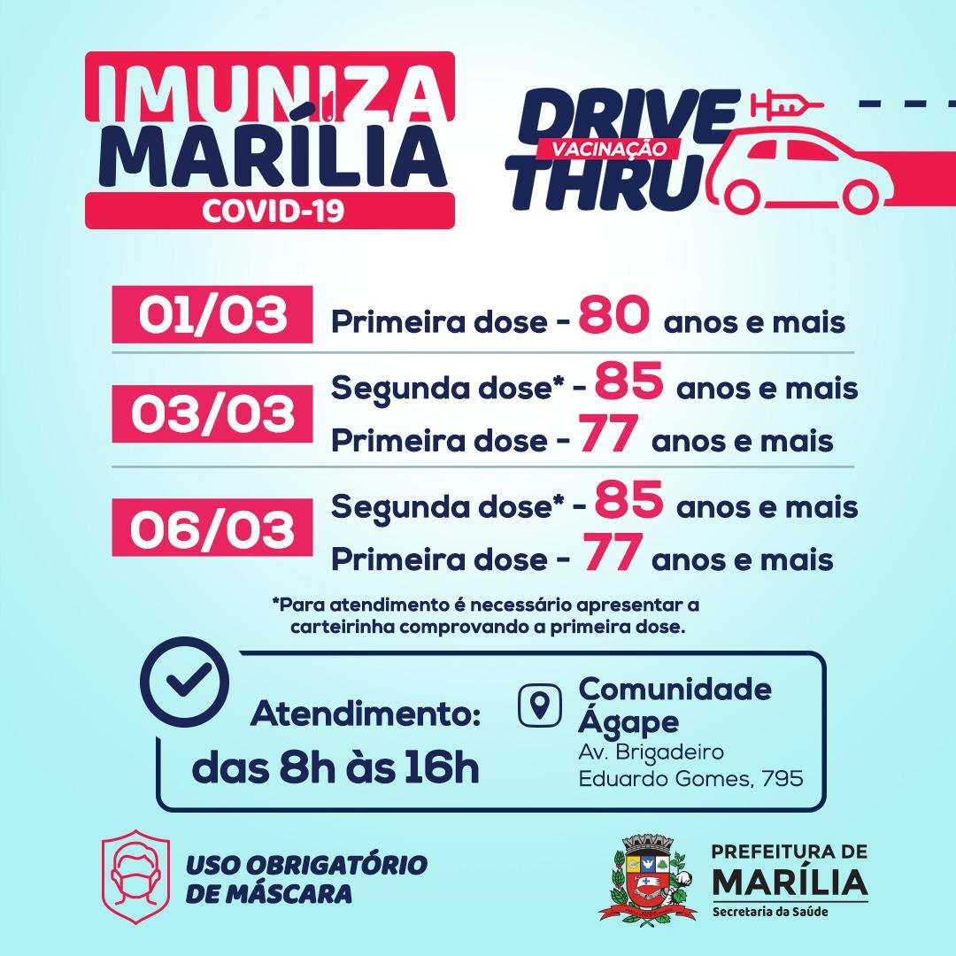 Prefeitura de Marília promove 4 ações de vacinação contra Covid-19