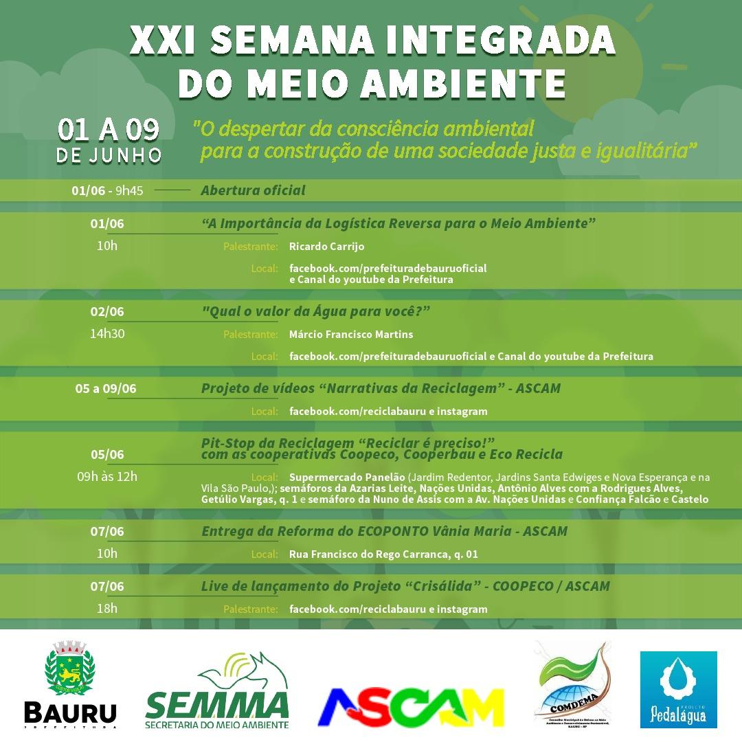 Secretaria do Meio Ambiente realiza XXI edição da Semana Integrada do Meio Ambiente de Bauru