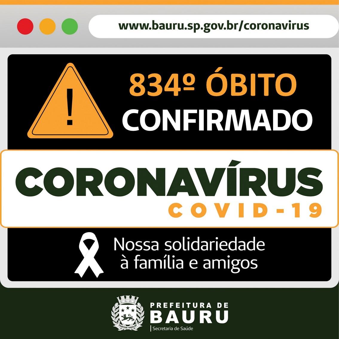 Bauru chega a 834 vítimas fatais por Covid