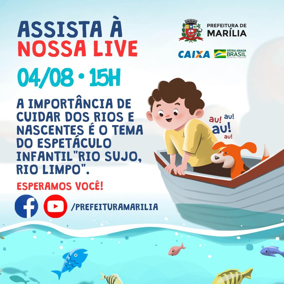 Marília: Projeto Social promove apresentação teatral 'A história de um rio – Rio sujo, rio limpo'